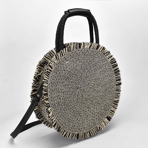 Fringed Round Summer Straw Bag