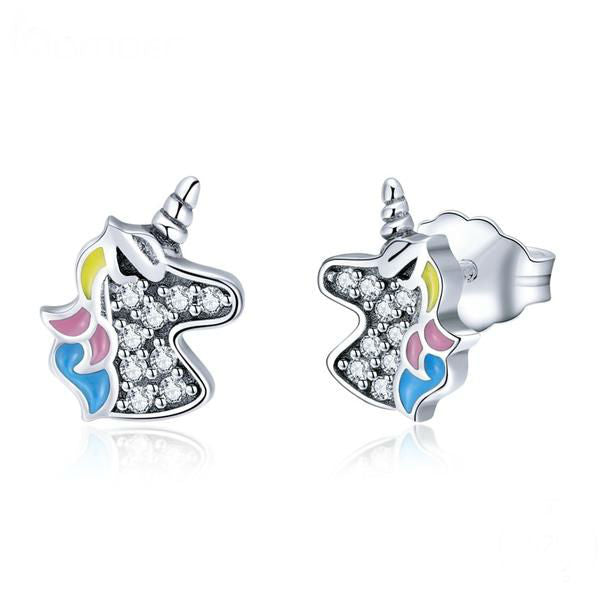 Silver Unicorn Earrings