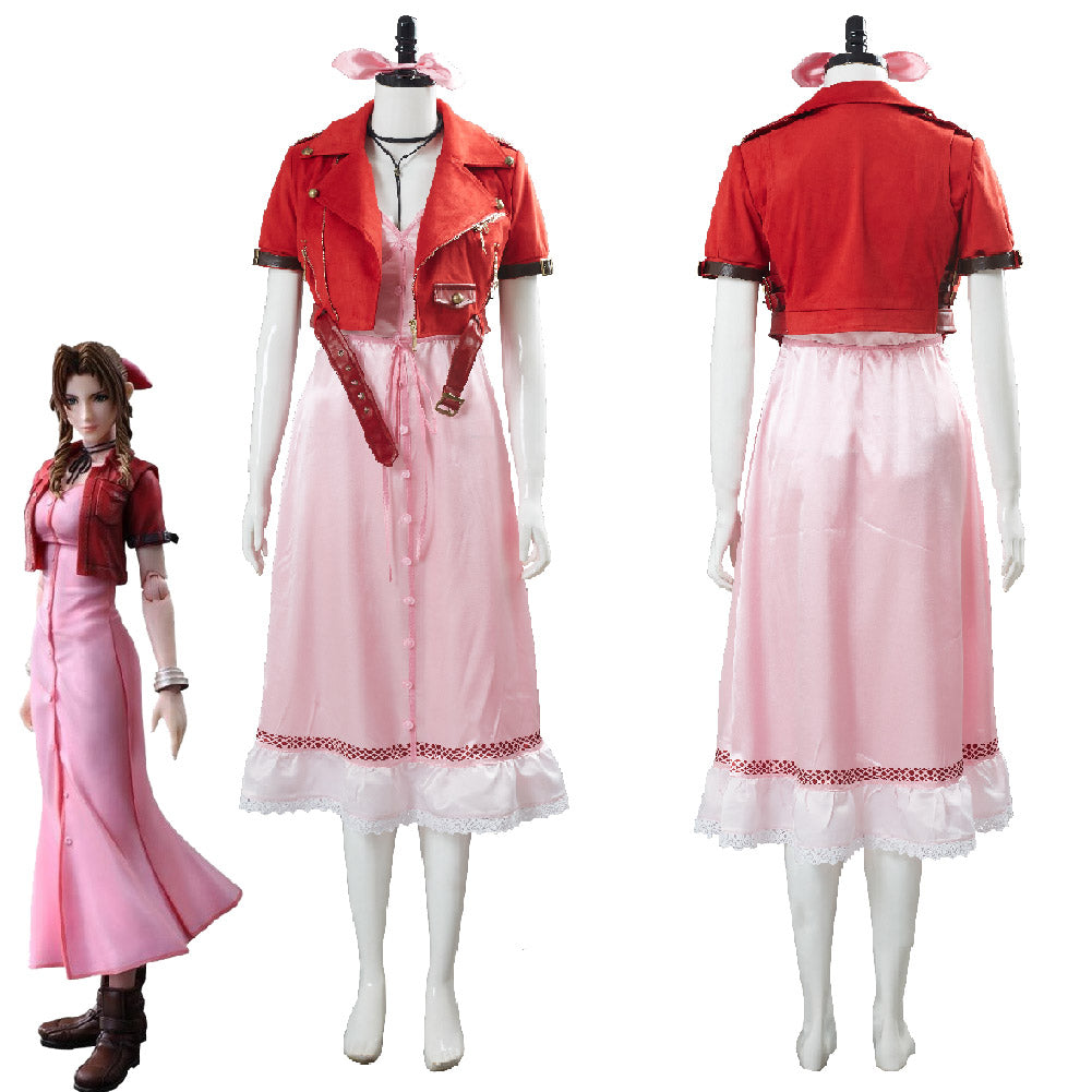 Final Fantasy VII 7 Aerith Aeris Gainsborough Vestido Rosa Cosplay Disfraz
