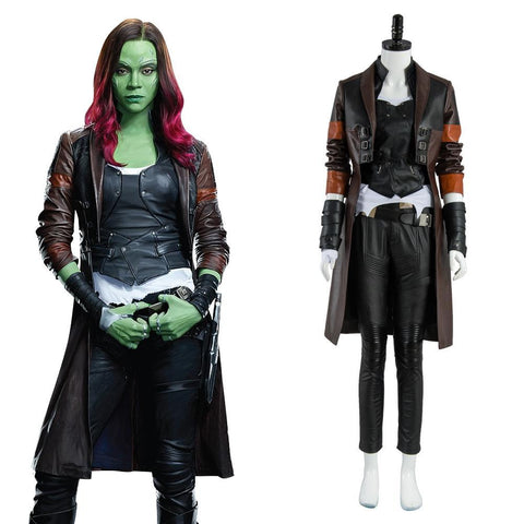 Los Guardians de la Galaxia (Guardians of the Galaxy) 2 Gamora Traje Halloween Cosplay Disfraz Rojo