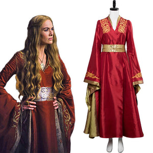 Game of thrones Cersei Lannister Red Luxury Dress Cosplay Disfraz