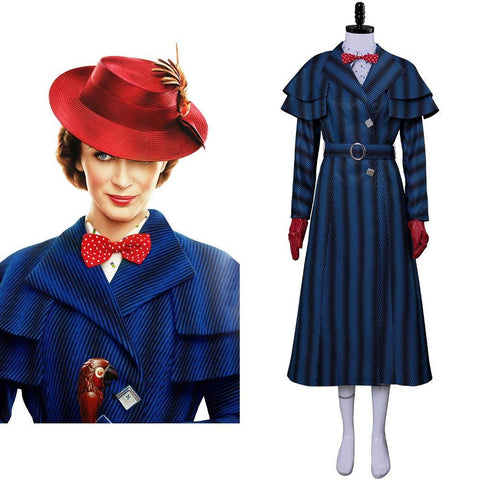 2018 Mary Poppins Returns Disfraz Mary Poppins Vestido Sombrero para Adultos