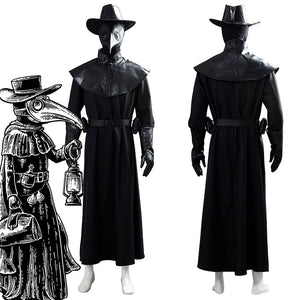 Steampunk Holloween Plague Doctor Capa Larga con Máscara de Pico y Sombrero Conjunto Cosplay Disfraz