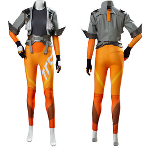 Overwatch OW2 Lena Oxton Tracer Uniforme Cosplay Disfraz