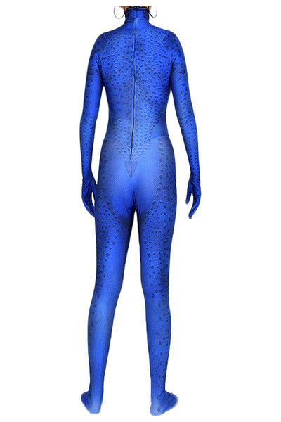 Marvel X-men Mystique Raven Darkholme Blue Jumpsuit Cosplay disfraz