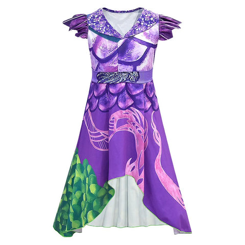 Los Descendientes Descendants 3 Mal Cosplay Halloween Vestido para Niñas Cosplay Disfraz