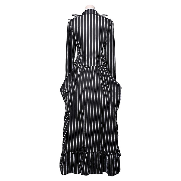 The Nightmare Before Christmas Jack Skellington Striped Vestido Largo Cosplay Disfraz