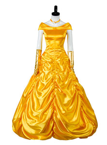 2017 La Bella y la Bestia Beauty and the Beast Belle Dress Ball Gown Cosplay Disfraz