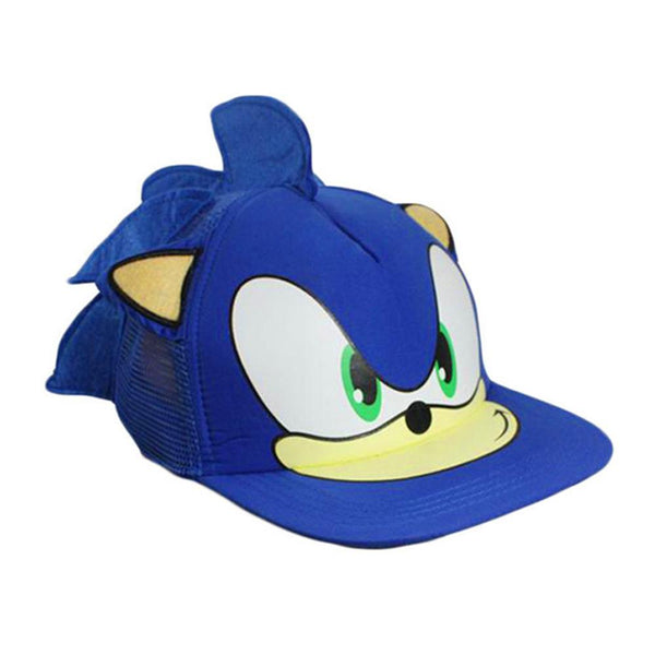 Sonic The Hedgehog Snapback Face Cartoon Youth Ajustable Gorra Azul de Béisbol