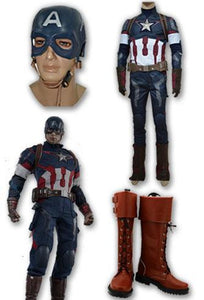 Captain America Steve Rogers Whole Set Cosplay disfraz + botas + m¨¢scara