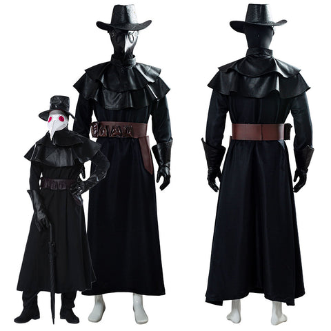 Steampunk Plague Doctor Halloween Capa Larga con Máscara de Pico Cosplay Disfraz