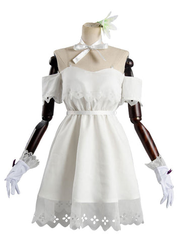 Fate Grand Order Mash Kyrielight Blanco Vestido Cosplay Disfraz