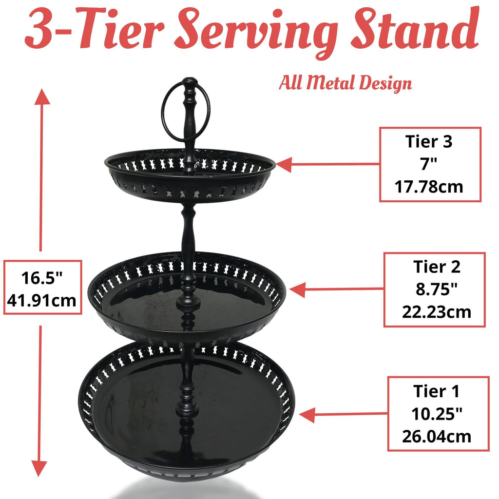 3 Tier Serving Stand - Cupcake Stand - Black Painted Metal Serving Tray - Food Grade Quailty 16.5 Inches - Farmhouse World