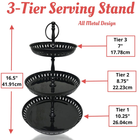 Image of 3 Tier Serving Stand - Cupcake Stand - Black Painted Metal Serving Tray - Food Grade Quailty 16.5 Inches - Farmhouse World