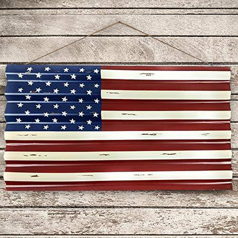 Image of 45 Star Metal American Flag Outdoor or Indoor Use - Distressed for Rustic Vintage Look - Use as Patriotic Decor, Garage Decor, Man Cave Decorations or Wall Art - Farmhouse World