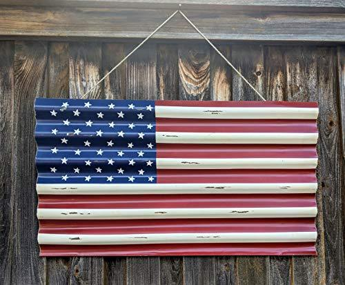 45 Star Metal American Flag Outdoor or Indoor Use - Distressed for Rustic Vintage Look - Use as Patriotic Decor, Garage Decor, Man Cave Decorations or Wall Art - Farmhouse World
