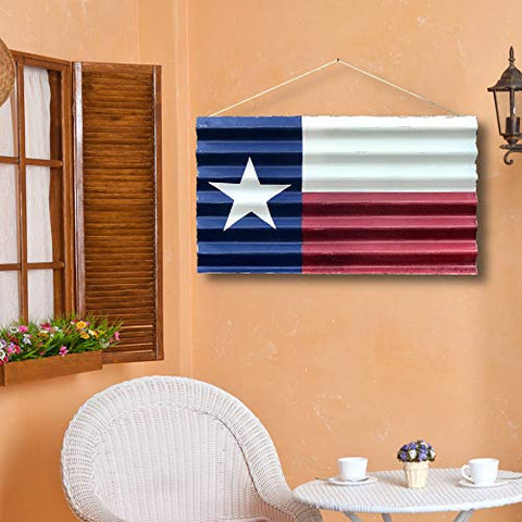 Image of Texas Decor | Metal Texas Flag Painted on Corrugated Metal with Vintage Distressed Look | Indoor or Outdoor Use