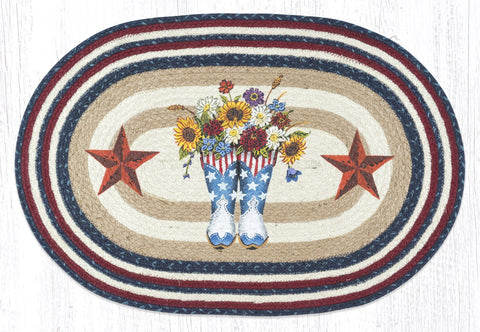 American Country Flower Boots & Stars Patriotic Kitchen Rug - Handwoven with 100% Natural Jute and Hand Stenciled - Farmhouse World