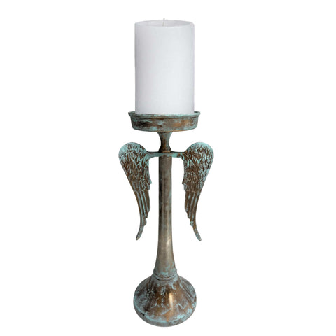 Angel Wings Candle Holders for Table - Painted Metal to Give Distressed Rustic Decorative Look - Farmhouse World