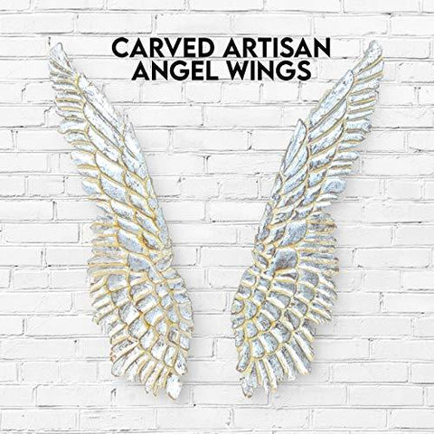 "Angel Wings Wall Decor 2-Piece Wooden Set - Carved Antique Vintage Artisanal Design - 43 x 24"" - Farmhouse World"