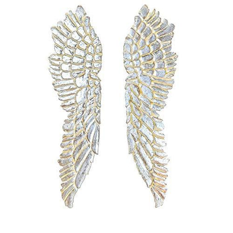 "Image of Angel Wings Wall Decor 2-Piece Wooden Set - Carved Antique Vintage Artisanal Design - 43 x 24"" - Farmhouse World"