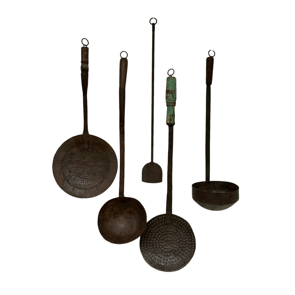 Antique Vintage Iron Cooking Utensils- Set of 5 - Farmhouse World