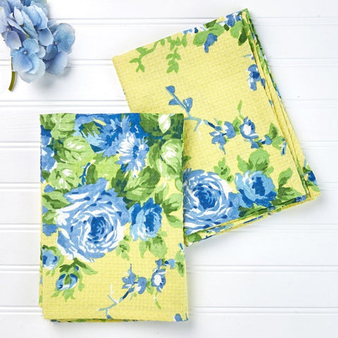April Cornell Cottage Rose Tea Towel Set of 2 - Lemon - Farmhouse World