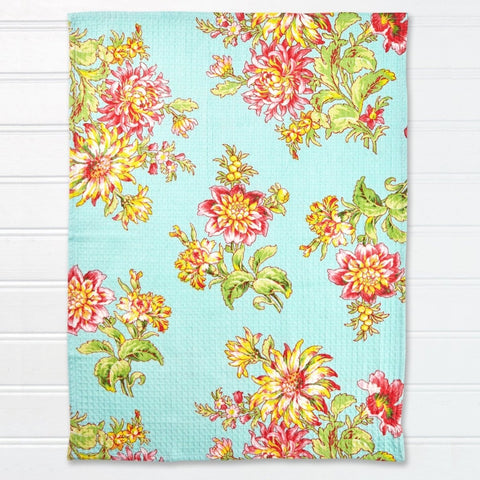 Image of April Cornell Dahlia Flower Tea Towel Set of 2 - Aqua - Farmhouse World