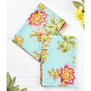 April Cornell Dahlia Flower Tea Towel Set of 2 - Aqua - Farmhouse World