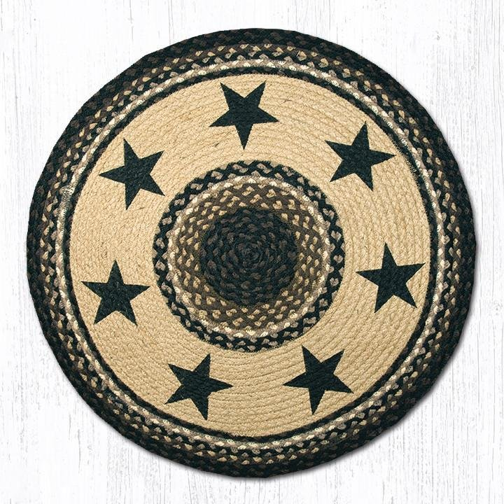 "Barn Star Round Rug Handwoven with 100% Natural Jute and Hand Stenciled 27"" - Farmhouse World"