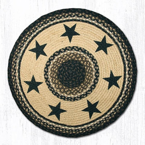 "Image of Barn Star Round Rug Handwoven with 100% Natural Jute and Hand Stenciled 27"" - Farmhouse World"