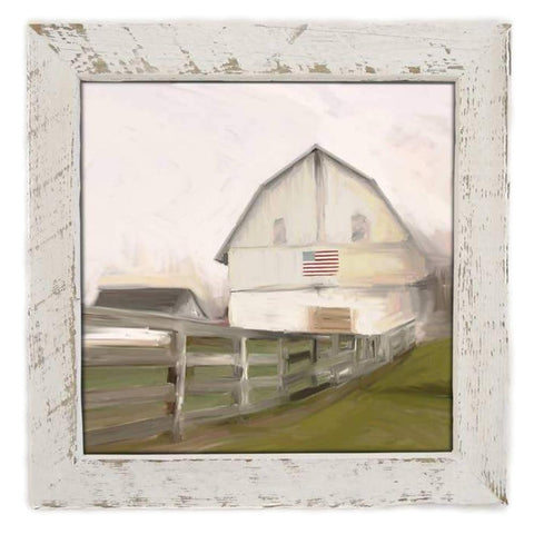 Barn With Flag Print framed in Reclaimed Barnwood - Farmhouse World
