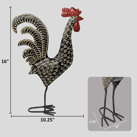 Image of Black Damask Metal Rooster Decor Chicken Statue Handcrafted by Metal Artisans - Farmhouse Decor - Farmhouse World