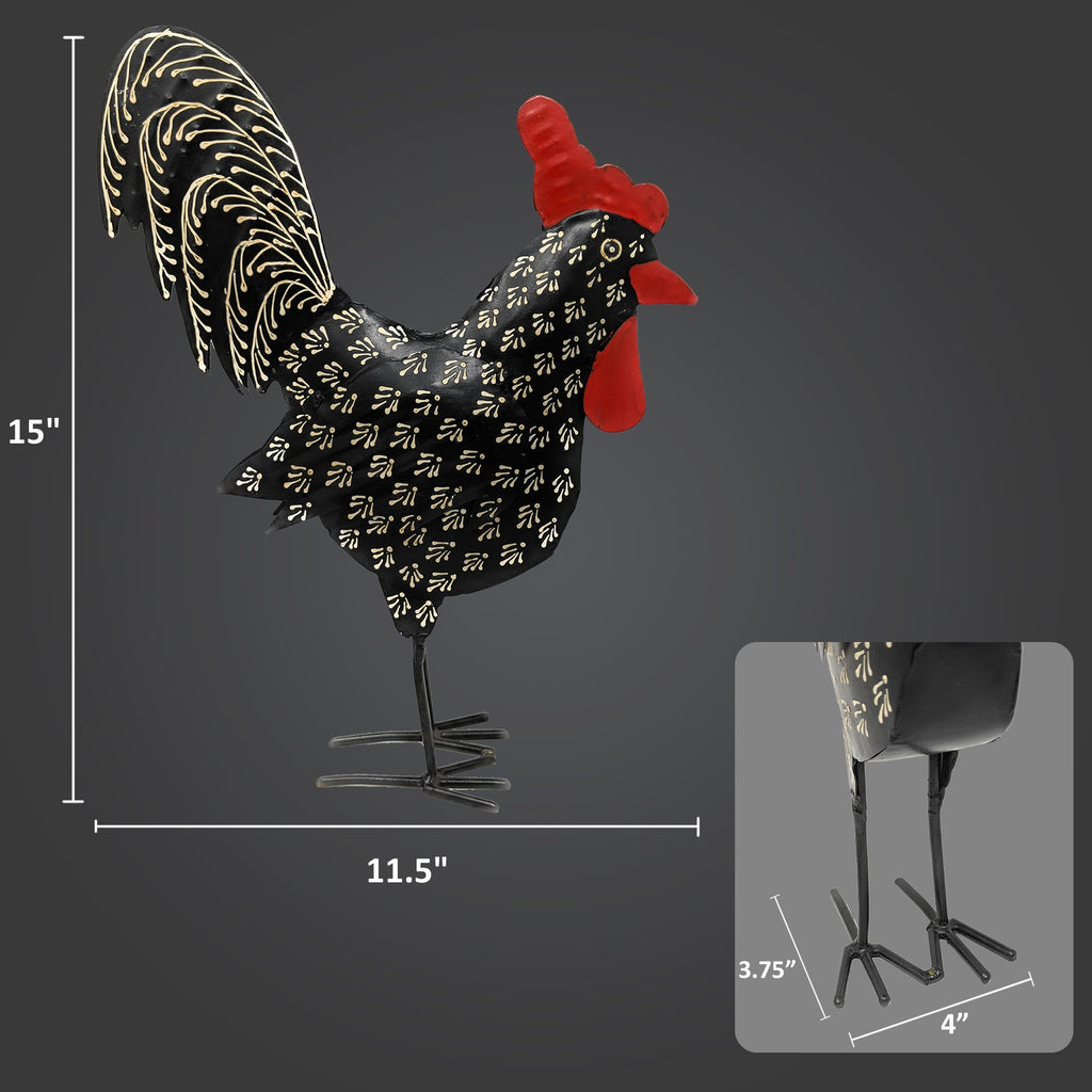Black Damask Metal Rooster Decor Chicken Statue Handcrafted by Metal Artisans - Farmhouse Decor - Farmhouse World
