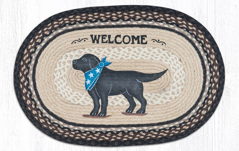 Black Lab Dog Patriotic Kitchen Rug - Handwoven with 100% Natural Jute and Hand Stenciled - Farmhouse World