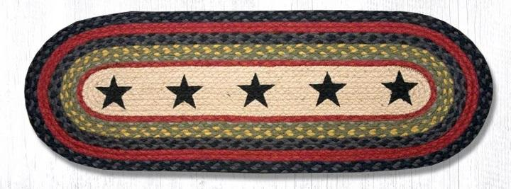 Black Stars Braided Oval Table Runner Accented by Blue & Red - 100% Natural Jute and Hand Stenciled - Farmhouse World