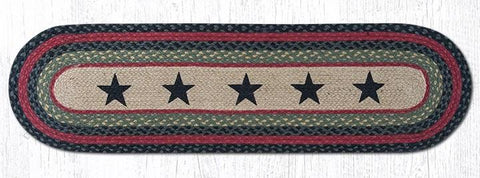 Image of Black Stars Braided Oval Table Runner Accented by Blue & Red - 100% Natural Jute and Hand Stenciled - Farmhouse World