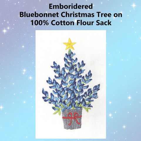 Image of Bluebonnet Christmas Tree Emboridered Kitchen Tea Towel - Perfect Texas Christmas Gift - Farmhouse World