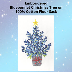 Bluebonnet Christmas Tree Emboridered Kitchen Tea Towel - Perfect Texas Christmas Gift - Farmhouse World