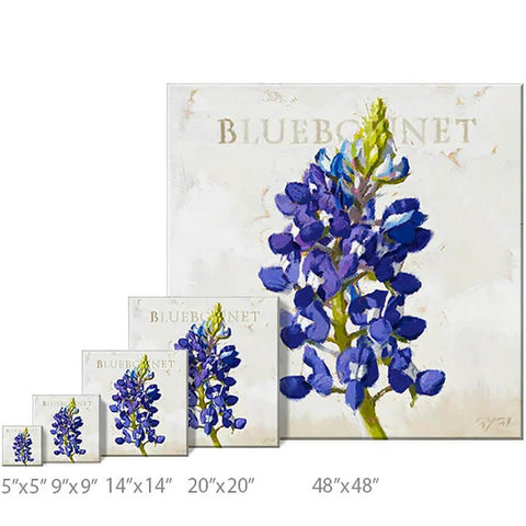 "Bluebonnet of Texas Flower Gallery Wrapped Canvas Wall Art - 5"" to 48"" Sizes - Farmhouse World"