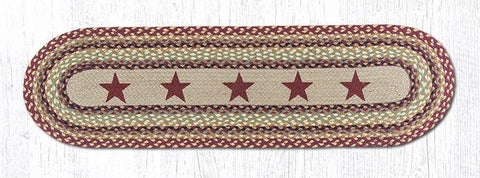 Burgundy Stars Braided Oval Table Runner - 100% Natural Jute and Hand Stenciled - Farmhouse World