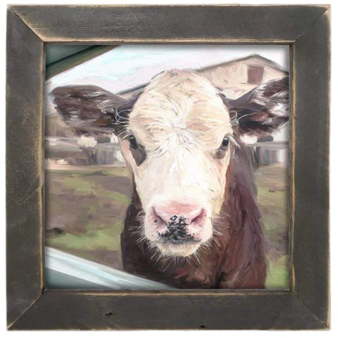 Calf Art Print Framed in Reclaimed Barnwood - Farmhouse World