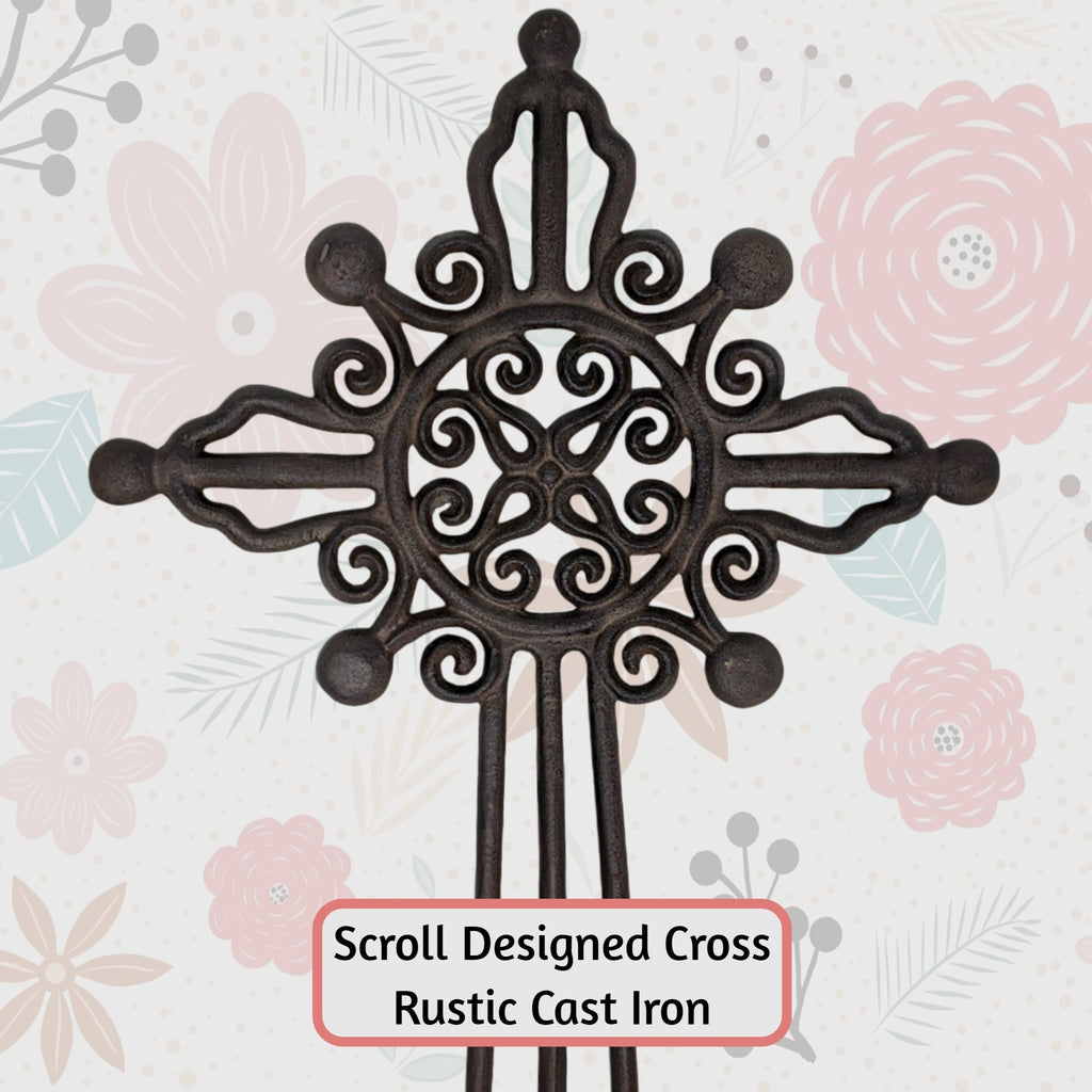 Cast Iron Scroll Cross Garden Art Stake - Farmhouse World
