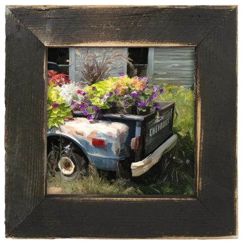 Chevy Flower Truck Bed Print Framed in Reclaimed Barnwood - Farmhouse World