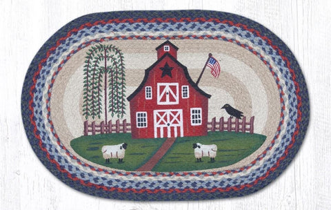 Country Barn & Flag Patriotic Kitchen Rug - Handwoven with 100% Natural Jute and Hand Stenciled - Farmhouse World