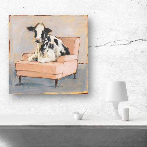 Image of Cow on Chair Wall Art | Colorful Cow Canvas Print - Farmhouse World