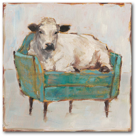Image of Cow on Sofa Wall Art | Colorful Cow Canvas - Farmhouse World