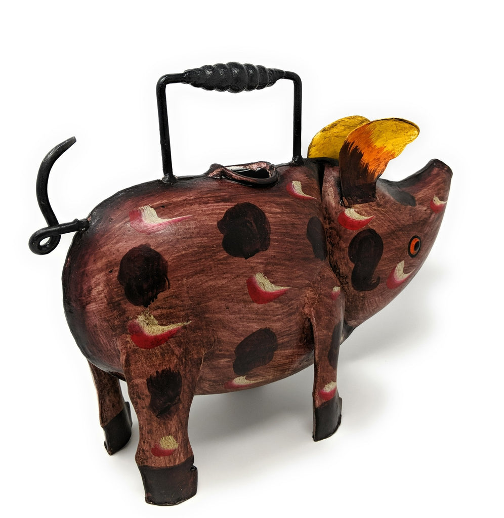 Cute Pig Shaped Metal Watering Can for Indoor or Outdoor Use - Farmhouse World
