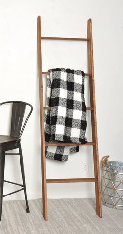 "Decorative Blanket Ladder Lucus Walnut - 6ft Tall - 20"" Wide - Made in USA - Farmhouse World"