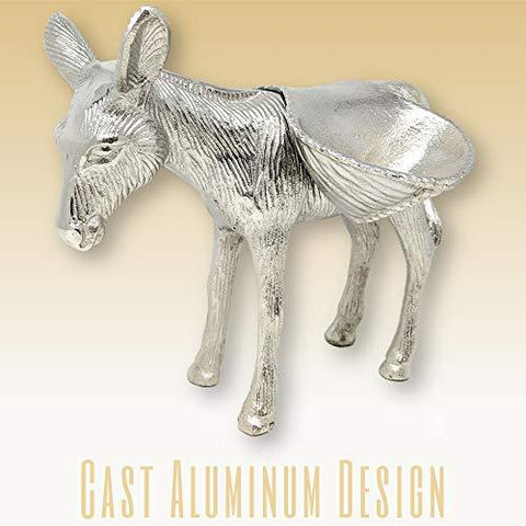 Image of Decorative Cast Aluminum Donkey with Side Saddle Bowls Serving Dish - Farmhouse World